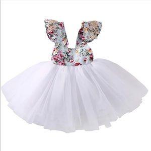 Floral dress,vintage dress,white tutu dress,tutu